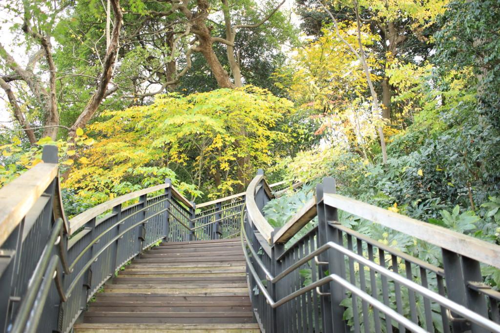 元町・中華街駅そばの入り口から始まるフランス山への長い階段